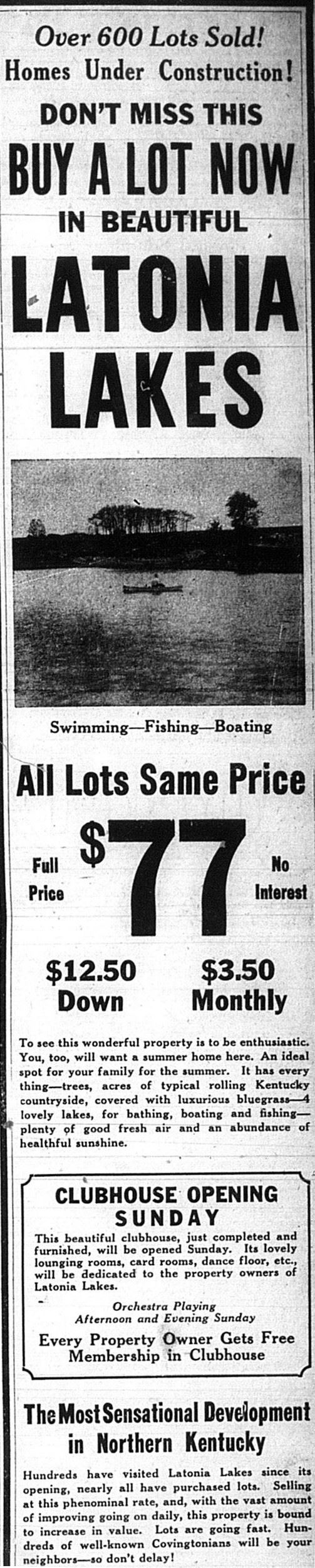 Historical Latonia Lakes Newspaper Clipping 3