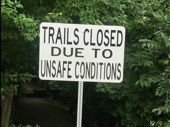 Doe Run Lake Trail Closed Sign