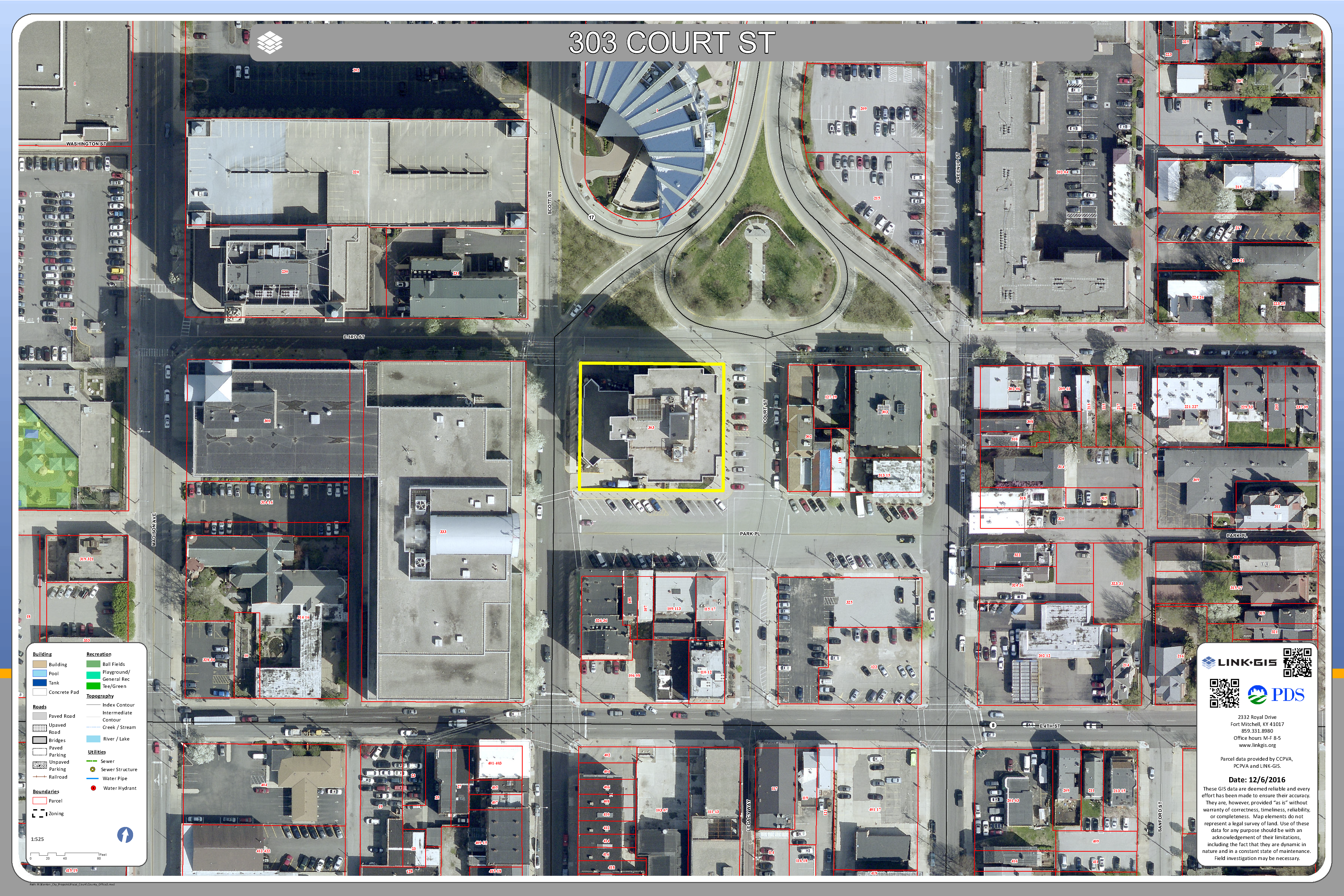 Aerial Map of 303 Court Street in Covington