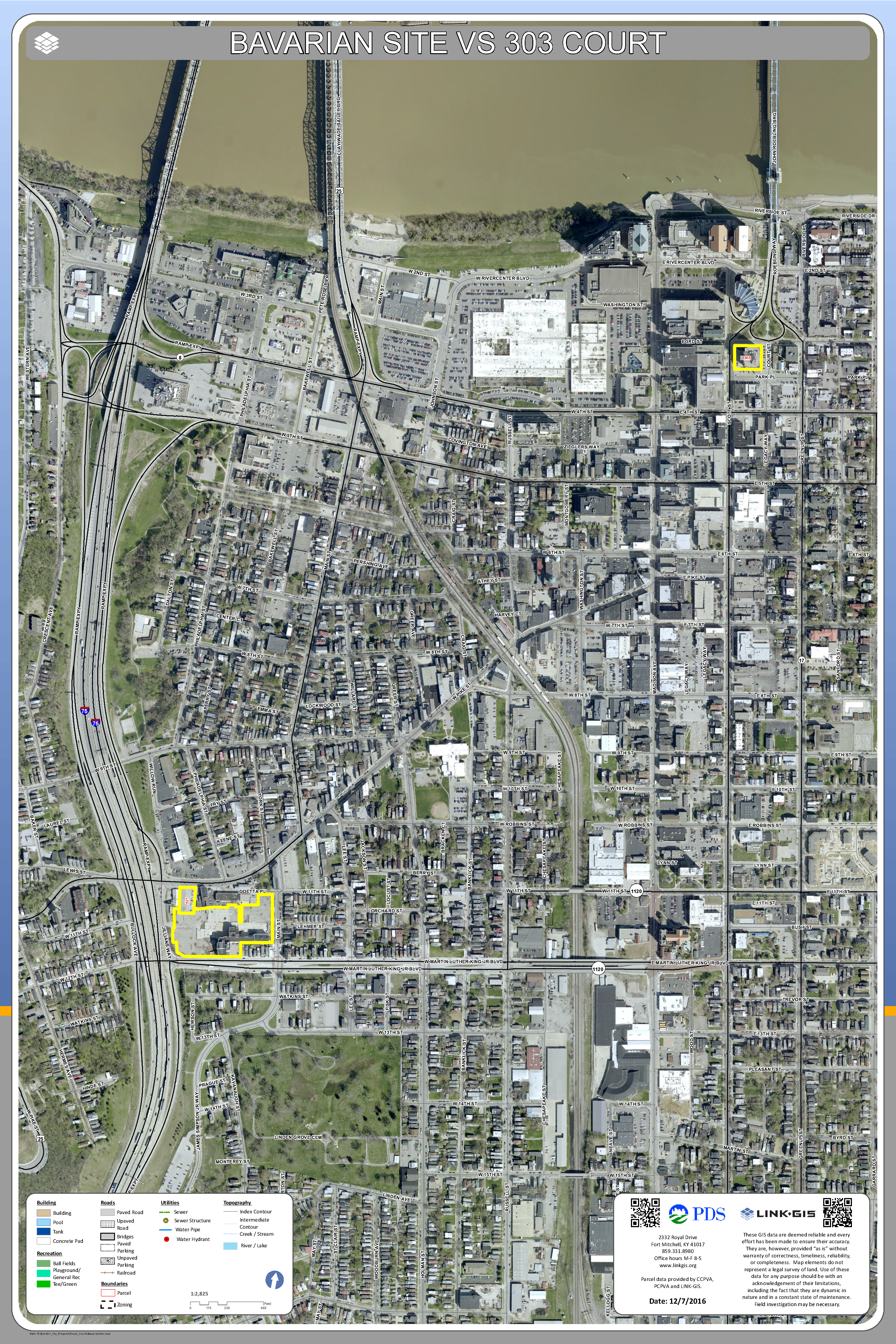 Aerial Map Showing the Location of 303 Court Street in Relation to the Bavarian Site